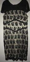 Princess CharLotte By Charlie Brown Hand Beaded Black Lace Formal Dress Size 16