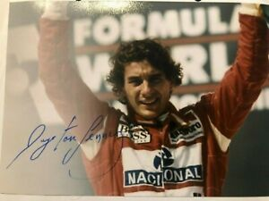 AYRTON SENNA ORIGINALLY SIGNED 5 X 7 PHOTO MCLAREN HONDA PODIUM F1