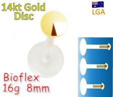 1 x BioFlex Monroe 14 kt Gold Disc Top Push Fit Lip Labret Free Post