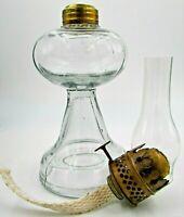 Antique Miniature Oil / Kerosene Stand Lamp Early Clear Glass + Burner & Chimney