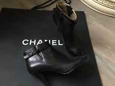Chanel 100% soft leather black short boots UK 6 / EU 39