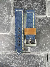 24mm BIG CANVAS LEATHER STRAP BLUE JEANS Watch Band White Stitch PANERAI 24 X1 R