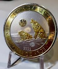 2016 Canada $2 Howling Wolves 3/4 Oz With 24k Gold Gilding