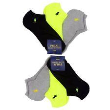 Womens POLO Ralph Lauren No-Show Sock 6prs PONY Neon Yellow Black Gray M-L