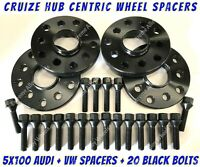 Wheel Spacers 15mm 20mm x 4 + M14x1.5 Bolts Black Alloy Fit Vw + Audi 5x100 57.1