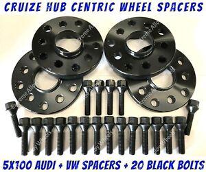 Wheel Spacers 15mm 20mm x 4 + M14x1.5 Bolts Black Alloy Fit Vw + Audi 5x100 57.1