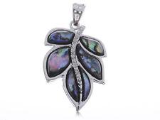 Silvery Tone Fashion Small Faux Abalone Leaf Clear Rhinestone Necklace Pendant