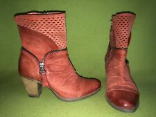 Slate Red MJUS Zip-Up Ankle Boots 6 36