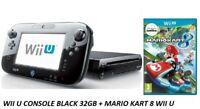 Nintendo Wii U Black Console 32 GB + Mario Kart 8 Game -Same Day Dispatch Free
