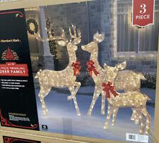 Christmas Reindeer Family 3 Piece Set   Pre-lit Rattan Holiday Deer Lighted Deer