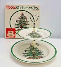 SPODE CHRISTMAS TREE DOUBLE TIER TIDBIT DESSERT TRAY CERAMIC S3324M ORIGINAL BOX