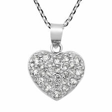 Glistening Heart Cubic Zirconia Embedded Sterling Silver Necklace