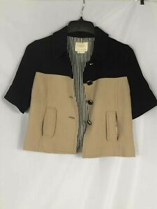 Kate Spade Black and Khaki Short Sleeve Jacket - Size Small Women's
