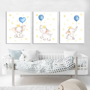 Watercolor Elephant Canvas Poster Nursery Wall Art Print Baby Bedroom Decoration