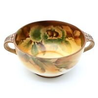 """Vintage Nippon 5.5"""" Round 2 Handled Nuts Porcelain Hand Painted Bowl Dish"""