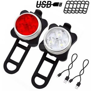 2x LED USB Rechargeable Cycling Bicycle Bike Head Front Rear Tail Light Lamp Set