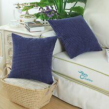 2Pcs Cushion Cover Pillows Shell Corduroy Corn Striped Home Decor 45cm Navy Blue
