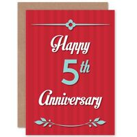 Anniversary Happy 5Th Fifth Blank Greeting Card With Envelope