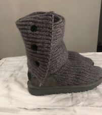 UGG Classic Cardy Knit Tall Boot 1016555 Grey Size 8 100% AUTHENTIC NEW* Woman