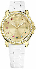 NIB Juicy Couture Women's Jetsetter White Silicone Strap Watch 38mm 1901238
