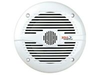 "White BOSS MR60W 200W 6-1/2"" 2-Way Coaxial Boat Marine Audio Speakers (Pair)"