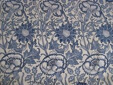 "WILLIAM MORRIS CURTAIN FABRIC DESIGN ""Pink and Rose"" 3.75 METRES VELLUM/INDIGO"