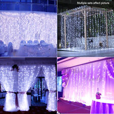 3M x 3M 300 LED Curtain Net Light Xmas Party Wedding Lamp Outdoor Cool White