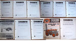 10 KUBOTA Parts & Owners Manuals PLOWS HARROWS POSTHOLE DIGGERS +++     Lot #787