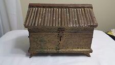 VINTAGE TRINKET BOX HAMMERED BRASS TIN OVER WOOD JEWELRY BOX OPIUM BOX