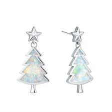 Fashion Christmas tree Silver Filled white Fire imitation Opal Ear Stud Earring