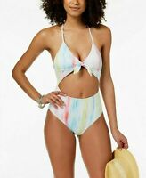 NEW!!! Bar III Women's Cut Out One Piece Cross Back Swimsuit (White, Sz: Small)