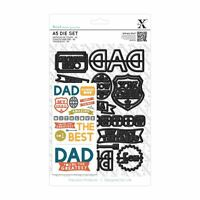 Xcut Universal A5 Paper Craft Die Set + Shim - Dad Text (14 pieces)