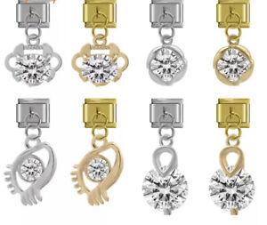 EYE, CZ,CLAM, Sparkle charms-Fits Nomination 9mm bracelet - Free Pouch nc160