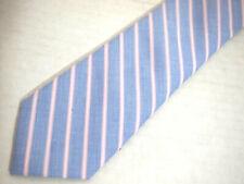 """The Tie Bar Mens Necktie Tie Pink Blue Striped Skinny Cotton 58"""""""