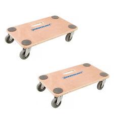 Silverline Dolly Trolley Platform 150kg Twin Pack Wheeled Wooden Board Transport
