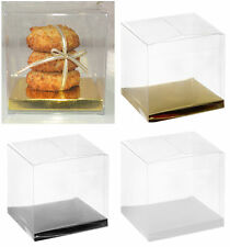 Clear Cake Cupcake Christmas Boxes x 10 Favour Box 9cm Insert White Gold Silver
