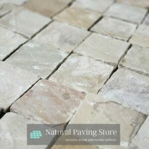 Fossil Mint Sandstone paving patio cobble setts 100x100x22mm