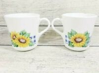 2 Corelle Corning SUNSATIONS Sunflower Mugs EUC Retired HTF USA Microwave OK