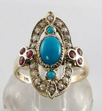 LONG 9CT 9K GOLD TURQUOISE PEARL & RUBY ART DECO INS RING FREE RESIZE