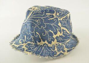 New Polo Ralph Lauren Printed Indigo/Natural Distressed Burlap Fedora Trilby Hat