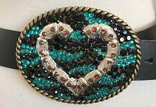 Black Leather Belt Heart Zebra Big Buckle made with Swarovski Crystal Rhinestone