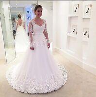 UK White Ivory Lace Long Sleeve V Neck Lace A Line Wedding Dresses Size 6-24