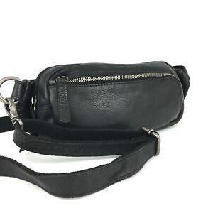 Greenburry Leder Bauchtasche Hüfttasche Crossbody Bag unisex schwarz used look