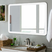Costway LED Wall-mounted Mirror Bathroom Makeup Illuminated Rounded Arc W/Touch