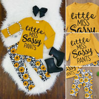 2PCS Baby Girls Outfits T-shirt Tops +Pants Set Toddler Cotton Clothes Tracksuit