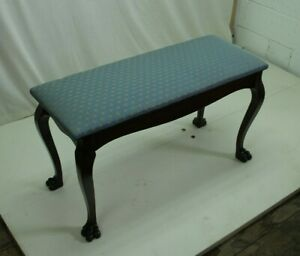 19th Century English Chippendale Window or Piano Bench With New Blue Upholstery