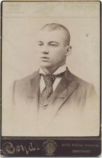 CABINET CARD, YOUNG OPEN MOUTHED BOY WITH A SHAVED HEAD. CHICAGO, ILL.