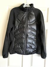 Womens London Fog Quilted Puffer Down Jacket Sweater M Black