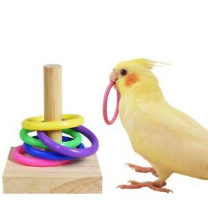 1X Wooden Bird Parrot Platform Ring Intelligence Training Chew Toy Bird Toy UK