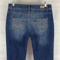 Bandolino Embellished Womens Size 6 Stretch Blue Med Wash Bootcut Denim Jeans